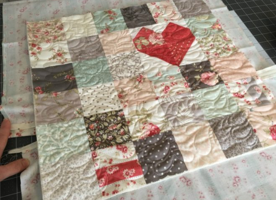 patchwork quilt top Moda Treats Poetry 3 Sisters