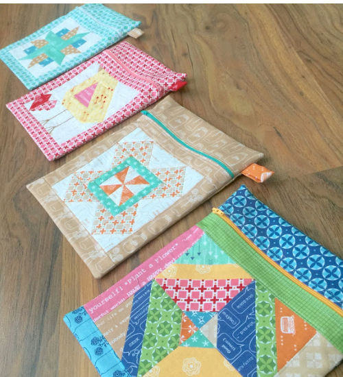 quilt blocks pouches for quilting supplies
