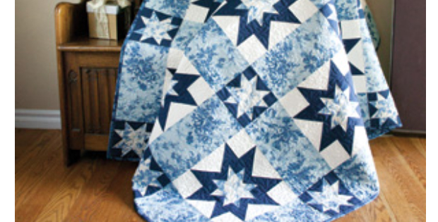 star quilt blue and white fabric