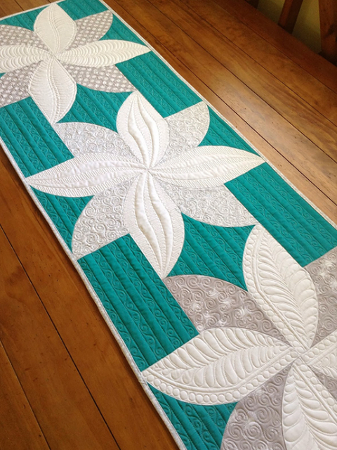 two color fabric poinsettia table runner